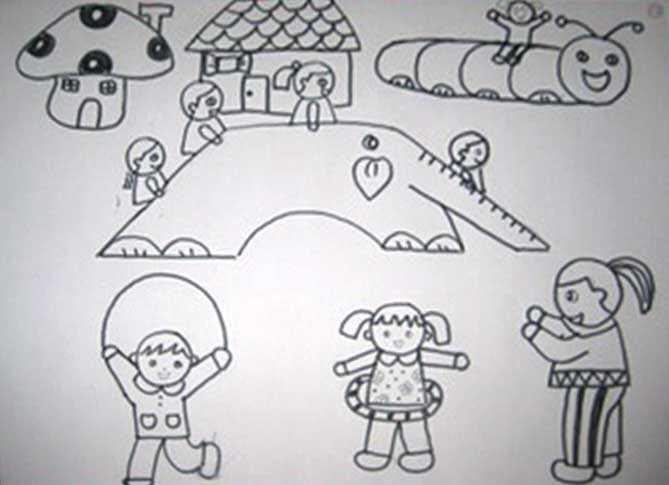 幼儿户外锻练简笔画